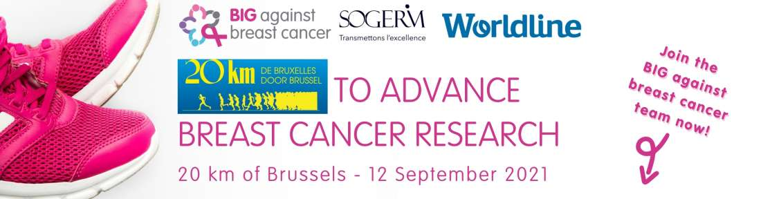 Join us running or walking the 20km of Brussels and take on the 28.800 step challenge to support breast cancer research!